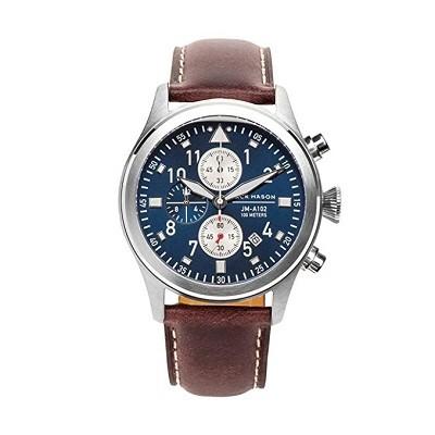 Jack Mason JM-A102-107 Men's Chronograph Watch Aviator Brown Italian Leather Strap