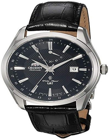 Orient FDJ05002B0 Men's Polaris GMT Stainless Steel Japanese-Automatic Watch with Leather Strap