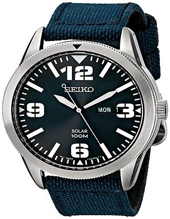 Seiko SNE329 Men's Sport Solar-Powered Stainless Steel Watch with Blue Nylon Band