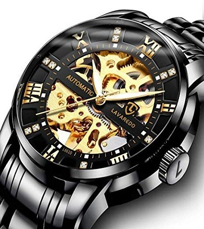 A ALPS TWS9005 Men's Watch, Luxury Mechanical Stainless Steel Skeleton Waterproof Automatic Self-Winding Rome Number Diamond Dial Wrist Watch
