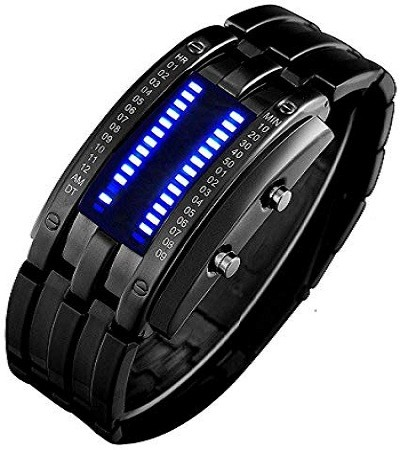 Fanmis 4331787069 Binary Matrix Blue LED Digital Watch Mens Classic Creative Fashion Black Plated Wrist Watches