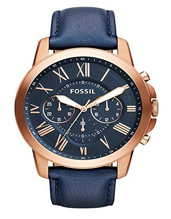 Fossil FS4835 Men's Grant Stainless Steel and Leather Chronograph Quartz Watch