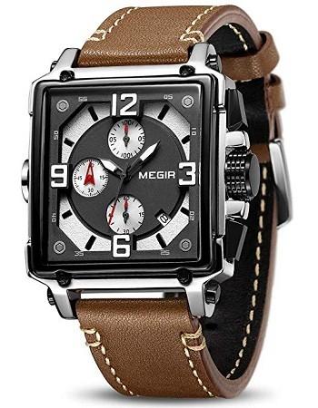 MEGIR ML2061G Men's Analogue Army Military Chronograph Luminous Quartz Watch with Fashion Leather Strap