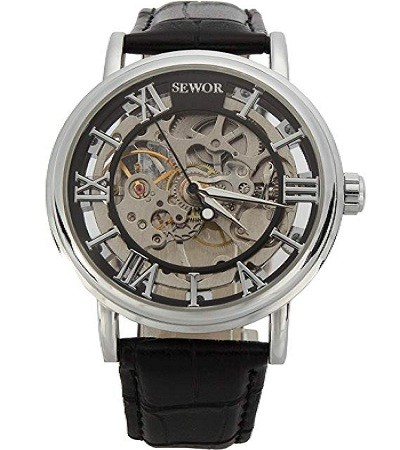 SEWOR C849 Men's Mechanical Skeleton Transparent Vintage Style Leather Wrist Watch for Man