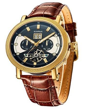 SURVAN SVA0004 Swiss Automatic Watch for Men Sapphire Crystal Mechanical Skeleton Wrist Watch