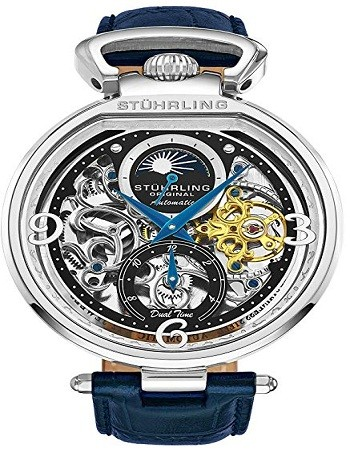 Stührling 889 Original Mens Skeleton Watch Dial Automatic Watch with Calfskin Leather Band