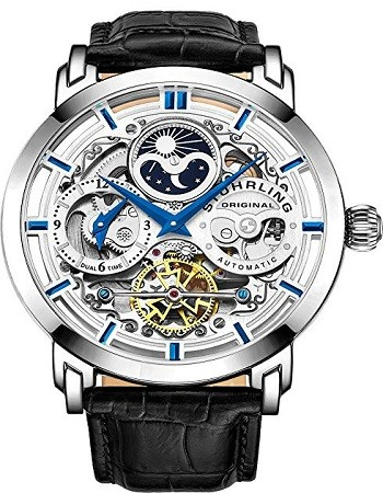 Stuhrling 371 Original Mens Watch Stainless Steel Automatic, Skeleton Dial With Dual Time