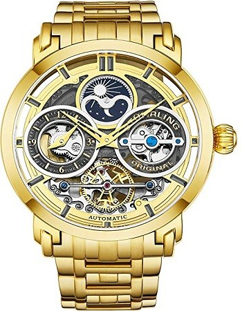 Stuhrling 371B Original Mens Watch Stainless Steel Automatic, Gold Skeleton Dial