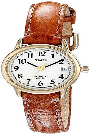 Timex T2J761 Women's Indiglo Easy Reader Quartz Analog Leather Strap Watch with Date Feature