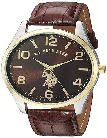 U.S. Polo Assn. USC50225 Classic Men's Watch with Brown Faux-Leather Strap