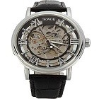 SEWOR C849 Men's Mechanical Skeleton Transparent Vintage Style Leather Wrist Watch