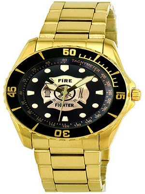 Aqua Force AF61Y Firefighter Golden Watch with 47mm Black Face (Aquaforce Firefighter Watch)