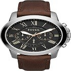 Fossil FS4813IE Men's Grant Stainless Steel and Leather Chronograph Quartz Watch
